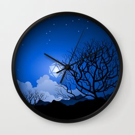 Dead Tree Under D20 Dice Moon Halloween Tabletop RPG Landscape Wall Clock