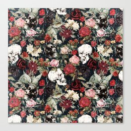 Vintage Floral With Skulls Canvas Print