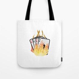 Poker card game Skat poker evening flames diamond cards Tote Bag