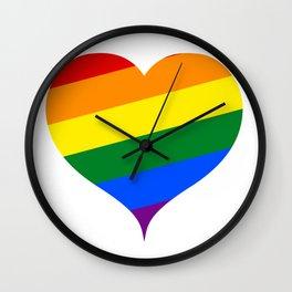 LGBT Rainbow Heart Wall Clock