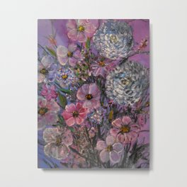She wanted Pink and Purple Posies Metal Print