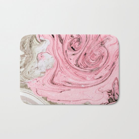 Nude+ Pink Marbling Art #society6 #decor #buyart Bath Mat