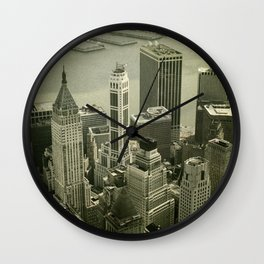 Vintage toned picture of old residential buildings in New York City. Skyline View. Wall Clock