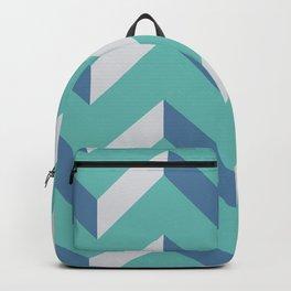 minimalist abstract modern geometric teal blue mint green chevron pattern  Backpack