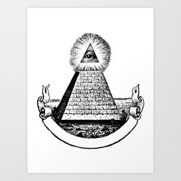 the Eye of Providence from the Great seal of America  All seeing Eye us dollar money cash Pyramid Art Print