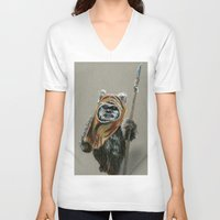 ewok V-neck T-shirts featuring Ewok by Sam Luotonen