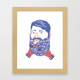 Animals in Beard Framed Art Print