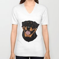 rottweiler V-neck T-shirts featuring Rottweiler by Mickeyila Studios