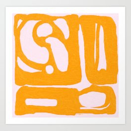 Abstract in Yellow and Cream Art Print