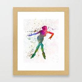 Woman in roller skates 08 in watercolor Framed Art Print