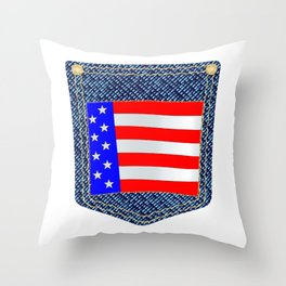 Stars and Stripes Denim Pocket Throw Pillow