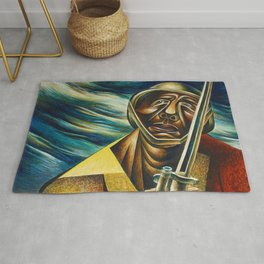African-American 1944 Classical Masterpiece 'Black Soldier' by Charles White Rug