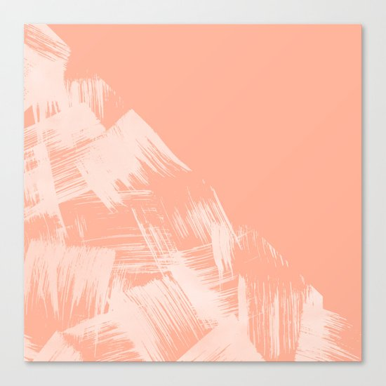 Sweet Life Paint Swipes Peach Coral Pink Canvas Print