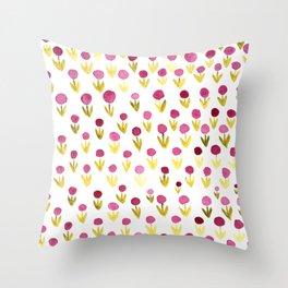 Dot flowers -  yellow green and garnet Throw Pillow