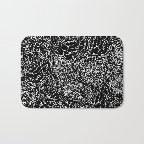 Spring in white and black bath mat by absentis designs society6 for Black and white bathroom mats