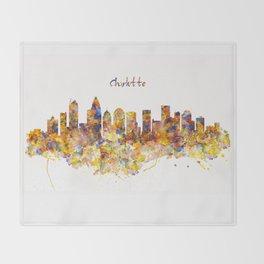 Charlotte Watercolor Skyline Throw Blanket