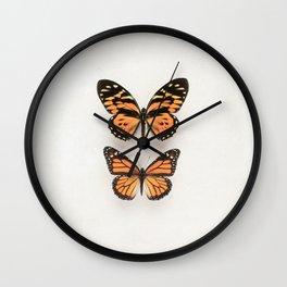 Two Orange Butterflies Wall Clock