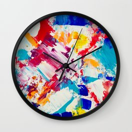 Forever and always red blue yellow abstract acrylic paint Wall Clock