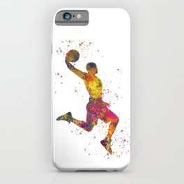 Basketball player 02 in watercolor iPhone Case
