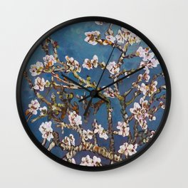 Vincent van Gogh Pink Blossoming Almond Tree (Almond Blossoms) Wall Clock