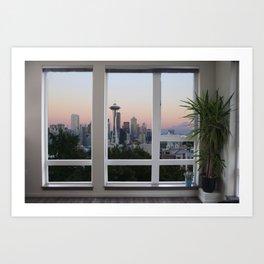 Seattle Skyline Window View Art Print