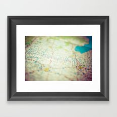 Road Map of Michigan Framed Art Print