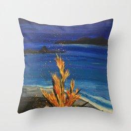 Beach bonfire Throw Pillow