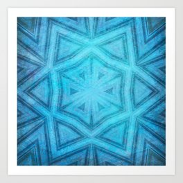 Blue textured striped kaleidoscope Art Print