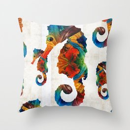 Colorful Seahorse Collage Art by Sharon Cummings Throw Pillow