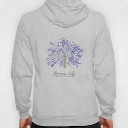 blue purple African lily watercolor painting Hoody