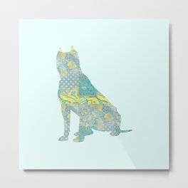 American Staffordshire Dog Vintage Floral Pattern Teal Yellow Grey Silver Shabby Chic Metal Print