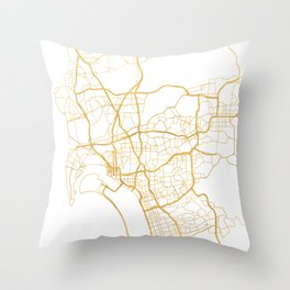 SAN DIEGO CALIFORNIA CITY STREET MAP ART Throw Pillow