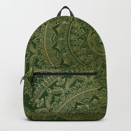 Mandala Royal - Green and Gold Backpack