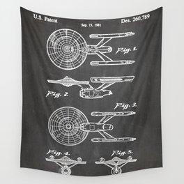 Startrek Uss Enterprise Patent - Trek Art - Black Chalkboard Wall Tapestry