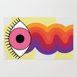 Clouds & Rainbow Pink Crying Eye Design Rug