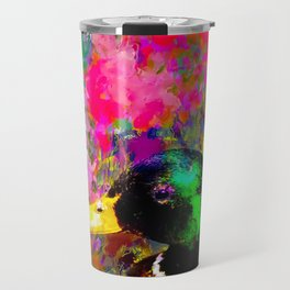 mallard duck with pink green brown purple yellow painting abstract background Travel Mug