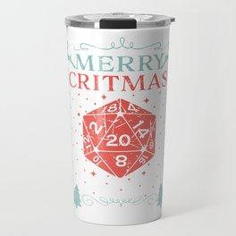 Merry Critmas 20 Sided Dice RPG Christmas Holiday Graphic Travel Mug