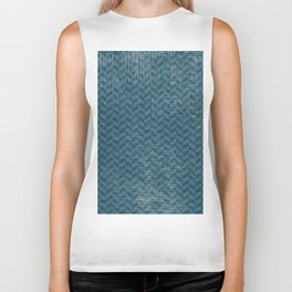 Vintage blue gray abstract geometric chevron pattern Biker Tank