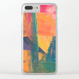 Abstract Art Colorful Vibrant Strong Brush Strokes Clear iPhone Case