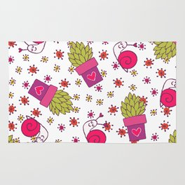 Abstract neon pink green funny snail cactus floral Rug