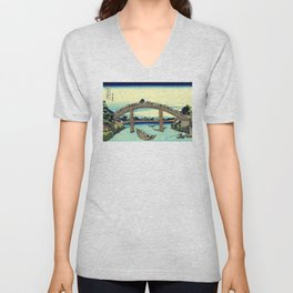 Under Mannen Bridge at Fukagawa (Fukagawa Mannen-bashi shita or 深川万年橋下) Unisex V-Neck