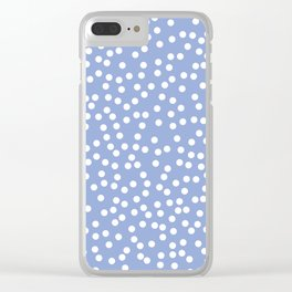Periwinkle and White Polka Dot Pattern Clear iPhone Case