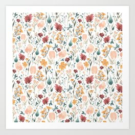 Deep Florals Art Print