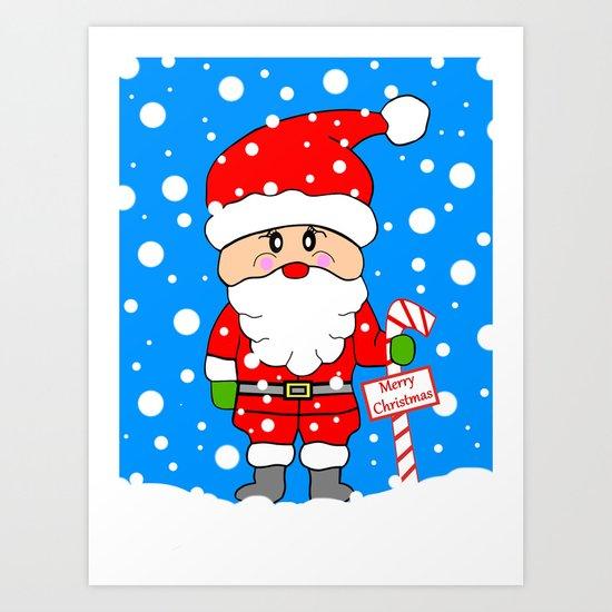 Merry Christmas Santa Art Print