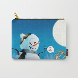 "Angry Snowman and Santa's Reindeer saying ""Oh my deer!"" Carry-All Pouch"