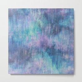 Baja Blue Watercolor Streaks Metal Print