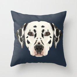 Dalmatian // Navy Throw Pillow