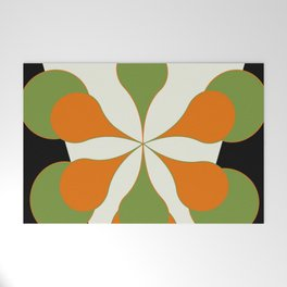 Mid-Century Modern Art 1.4 - Green & Orange Flower Welcome Mat