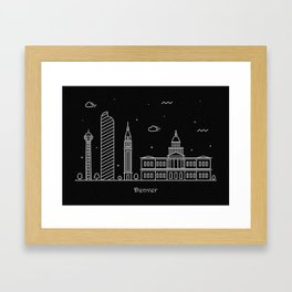 Denver Minimal Nightscape / Skyline Drawing Framed Art Print