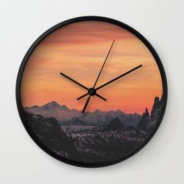 Pastel Sunset #mountains #society6 Wall Clock